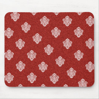 baroque, ornaments, ornamental, red, cherry, white mouse pad