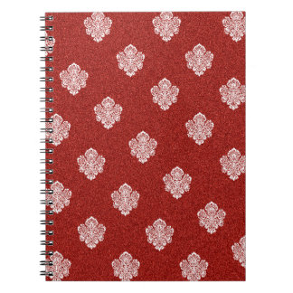 baroque, ornaments, ornamental, red, cherry, white notebook