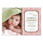 "Baroque Pattern Baby Birth Announcement (pink) 5"" X 7"" Invitation Card"
