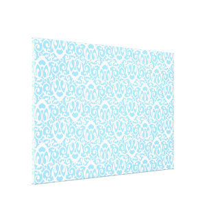 Baroque pattern light blue white canvas print