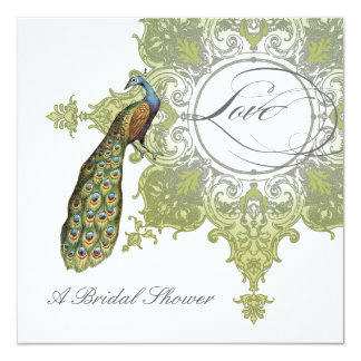 Baroque Peacock Bridal Shower Invite - Aqua Blue