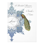 Baroque Peacock Bridal Shower Invite - Blue