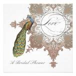 Baroque Peacock Bridal Shower Invite - Mocha Tan