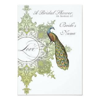 Baroque Peacock Bridal Shower Invite - Olive Lime