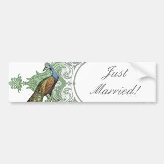 Baroque Peacock Just Married - aqua blue Car Bumper Sticker