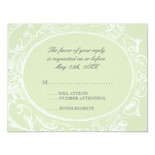 Baroque Peacock RSVP Response Card - Olive Lime Announcement