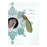 Baroque Peacock Wedding Invitation - Aqua Blue