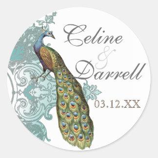 Baroque Peacock Wedding Sticker or Seal - Blue