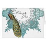 Baroque Peacock Wedding Thank You Note - Aqua Blue Greeting Cards