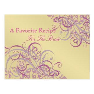 Baroque Pink & Gold Bridal Shower Recipe Card