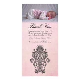 Baroque Pink Thank You Note Baby Girl Photo Card