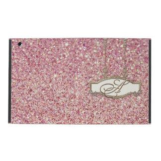 Baroque Roccoco Gold Monogram w Bokeh Glitter Pink iPad Cover
