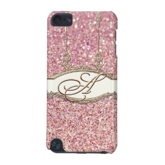 Baroque Roccoco Gold Monogram w Bokeh Glitter Pink iPod Touch 5G Cover