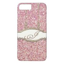 Baroque Rococo Gold Monogram J Bokeh Glitter Pink iPhone 8 Plus/7 Plus Case