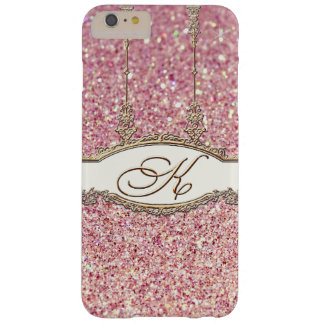 Baroque Rococo Gold Monogram K Bokeh Glitter Pink Barely There iPhone 6 Plus Case