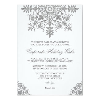 Baroque Silver Glitter Look Holiday Party 4.5x6.25 Paper Invitation Card