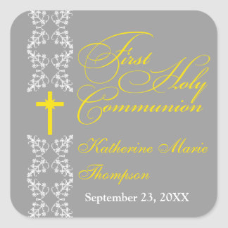 Baroque  Strip Gray First Holy Communion Square Sticker