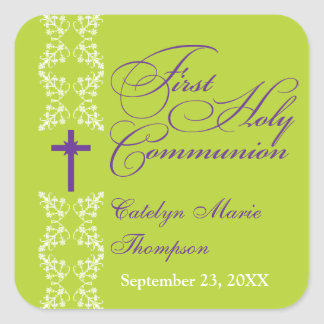 Baroque  Strip Lime First Holy Communion Square Sticker