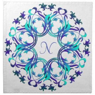 Baroque style floral circle element. monogram. cloth napkin