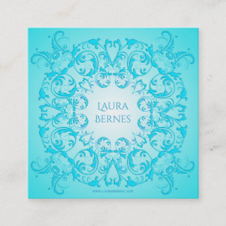 Baroque style turquoise gradient texture. square business card