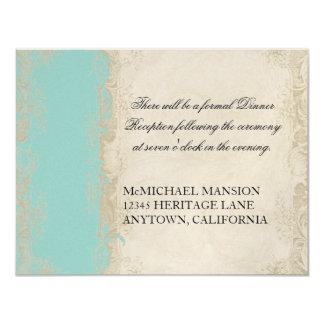 Baroque Style Vintage Rose Aqua Blue n Cream Lace Card