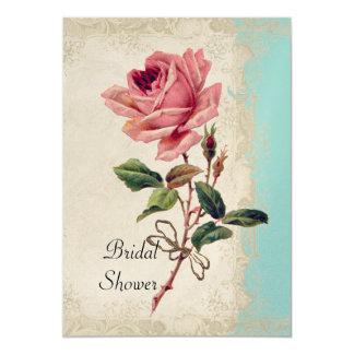 Baroque Style Vintage Rose Aqua n Cream Lace Card