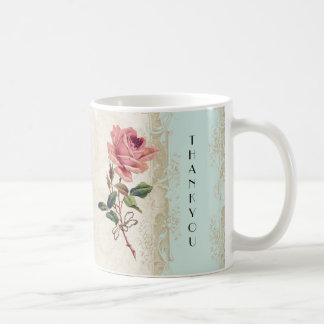 Baroque Style Vintage Rose Aqua n Cream Lace Classic White Coffee Mug
