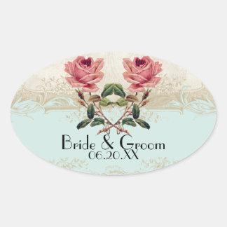 Baroque Style Vintage Rose Aqua n Cream Lace Oval Sticker