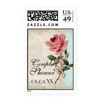 Baroque Style Vintage Rose Aqua n Cream Lace Stamp