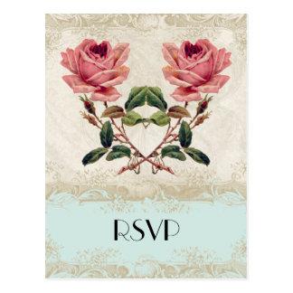 Baroque Style Vintage Rose Aqua n Cream Lace Postcard