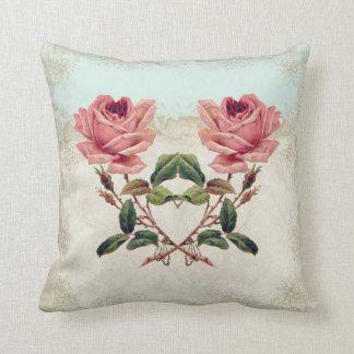 Baroque Style Vintage Rose Aqua n Cream Lace Throw Pillow