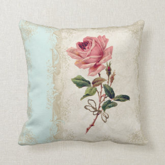 Baroque Style Vintage Rose Aqua n Cream Lace Throw Pillow