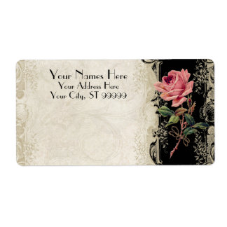 Baroque Style Vintage Rose Black n Cream Lace Label