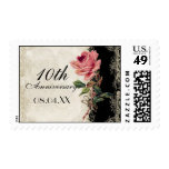 Baroque Style Vintage Rose Black n Cream Lace Postage Stamp