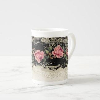 Baroque Style Vintage Rose Black n Cream Lace Tea Cup