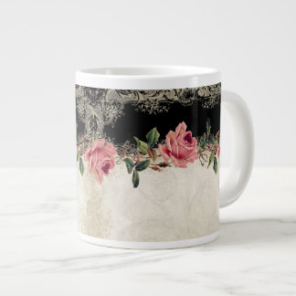 Baroque Style Vintage Rose Black n Cream Lace 20 Oz Large Ceramic Coffee Mug