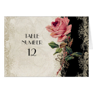 Baroque Style Vintage Rose Black n Cream Lace Stationery Note Card