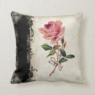 Baroque Style Vintage Rose Black n Cream Lace Throw Pillow