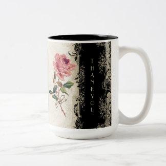 Baroque Style Vintage Rose Black n Cream Lace Two-Tone Coffee Mug