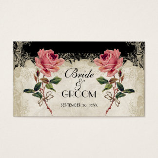 Baroque Style Vintage Rose Black Table Number Card