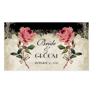 Baroque Style Vintage Rose Black Table Number Card Business Card Template