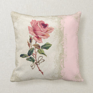 Baroque Style Vintage Rose Blush n Cream Lace Throw Pillow