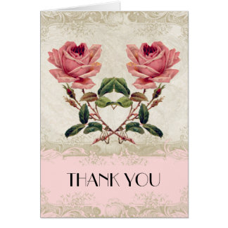 Baroque Style Vintage Rose Blush Thank You Notes