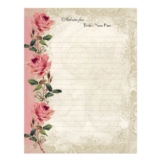 "Baroque Style Vintage Rose Lace 8.5"" X 11"" Flyer"