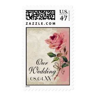 Baroque Style Vintage Rose Lace Postage Stamp