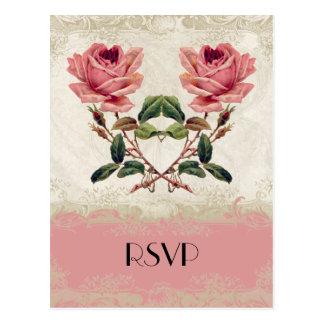 Baroque Style Vintage Rose Lace Postcard