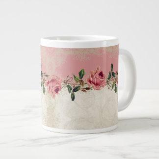 Baroque Style Vintage Rose Lace 20 Oz Large Ceramic Coffee Mug