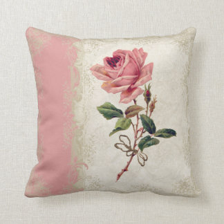 Baroque Style Vintage Rose Lace Throw Pillow