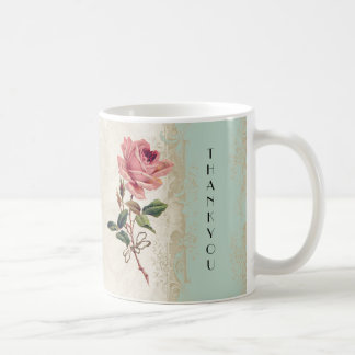 Baroque Style Vintage Rose Mint n Cream Lace Coffee Mug