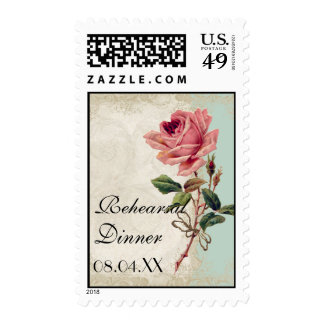 Baroque Style Vintage Rose Mint n Cream Lace Postage Stamp